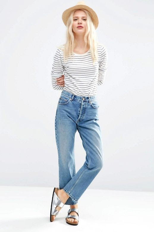 Le Fashion Blog Straw Hat Striped Tee Vintage Inspired Denim Under $50 Budget Friendly Metallic Sandals