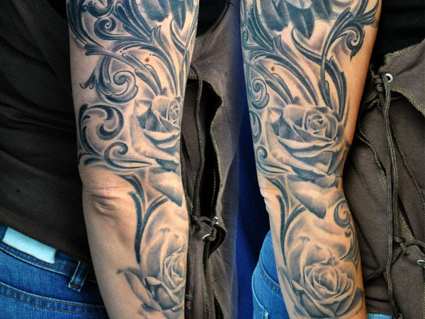 Half Sleeve Lily Flowers Vine Tattoos In 2017 Real Photo Pictures