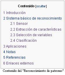 Español: contenido del artículo
