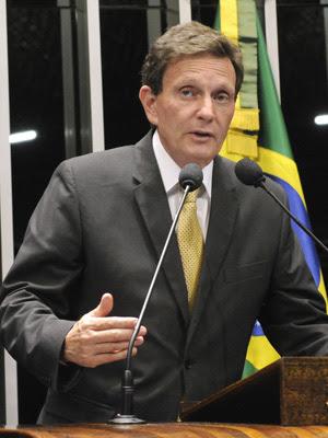 Marcelo Crivella em discurso no plenário do Senado na última terça-feira (28) (Foto: Agência Senado)