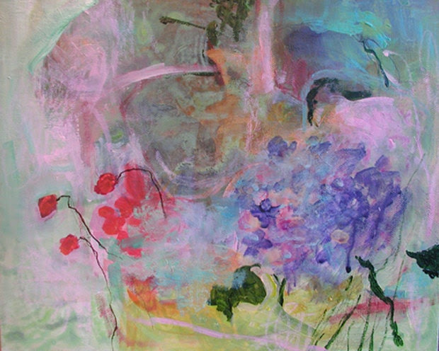 HYDRANGEA and WILD STRAWBERRIES Original Abstract Painting 12x9,6