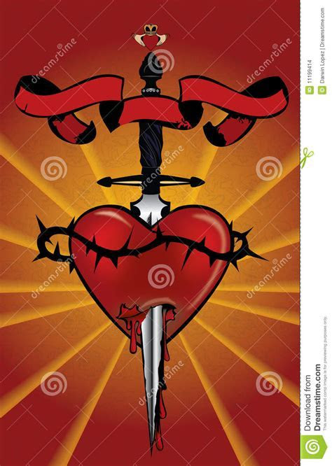 Heart With Dagger Illustration Stock Images   Image: 11199414