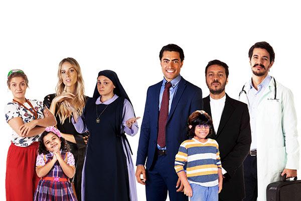 Montagem com o elenco de Carinha de Anjo que participará do Domingo Legal