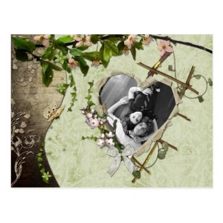 Vintage Floral Photo Save The Date Post Cards
