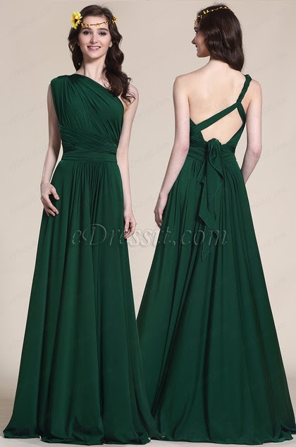 One Shoulder Convertible Dark Green Bridesmaid Dress