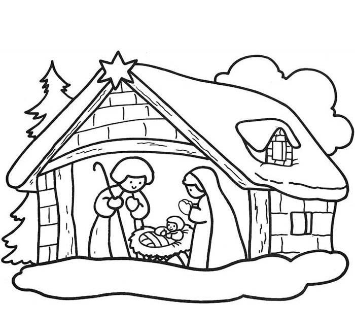 Coloriage A Imprimer Creche De Noel Gratuit Et Colorier
