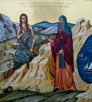 La Santa se encuentra con el hieromonje. Icono ortodoxo griego.