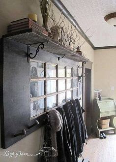 How To Make A Coat Rack From An Old Door and Shelf