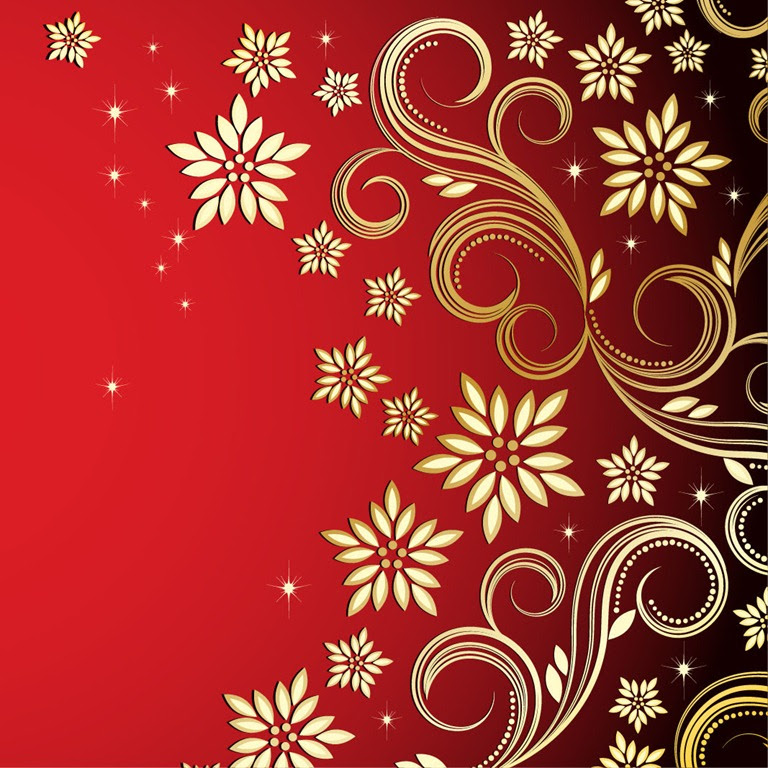 Bronze Floral Design On Red Background Free Vector Graphics All