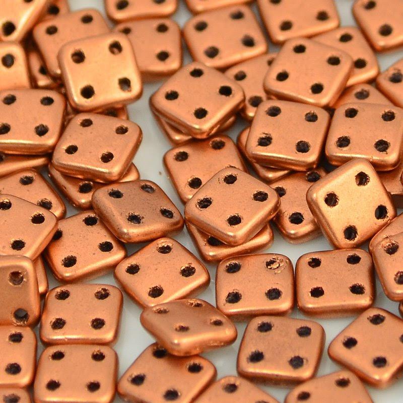 s45981 Shaped Beads - 6 mm Czechmates Quadra Tiles - Matte Metallic Bronze Copper