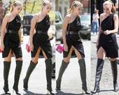 Gigi Hadid Vestido Con Abertura Con Botas Altas
