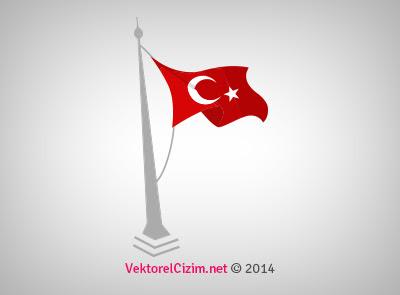 Vektörel çizim Gönderde Türk Bayrağı
