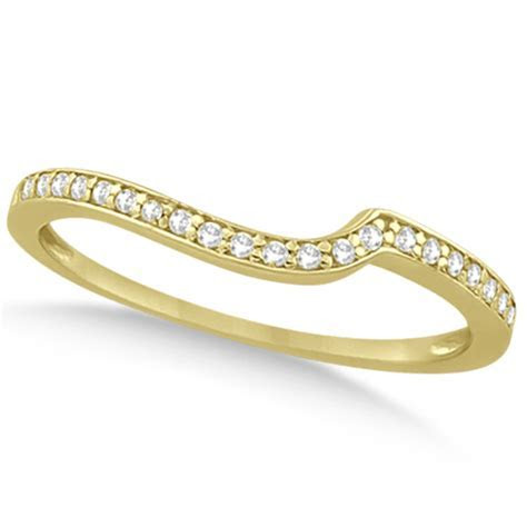 Pave Contour Band Diamond Wedding Ring 14k Yellow Gold (0