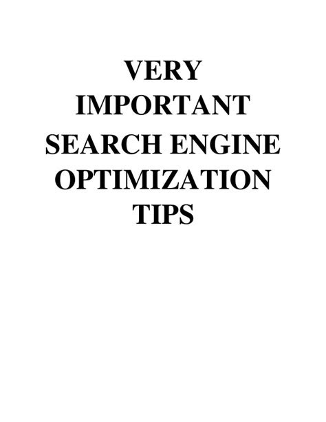 Very important search engine optimization tips