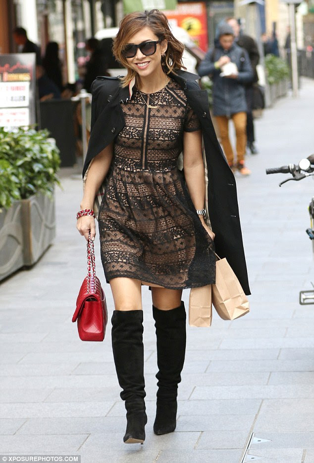 Oozing Klass: Myleene Klass, 37, was at her sartorial best on Friday when she headed to the Global Radio studios in a stunning lace dress from her Littlewoods range