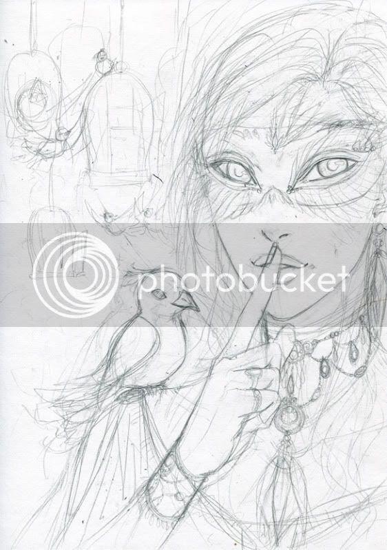 skizze Frau Maske vögel