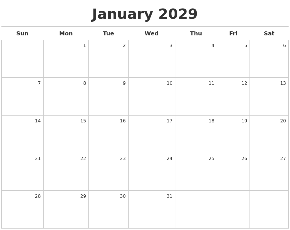january 2029 calendar maker