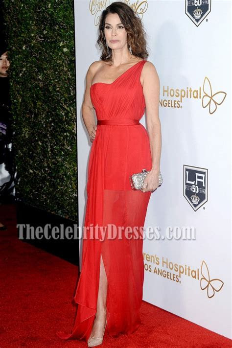 Teri Hatcher Red One shoulder Red Carpet Evening Prom Gown