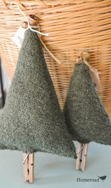 -Boiled Wool Christmas Trees... bowl fillers, ornaments, or small pillows!  www.homeroad.net