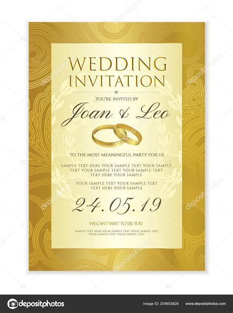 Wedding Invitation Design Template Date Card Classic