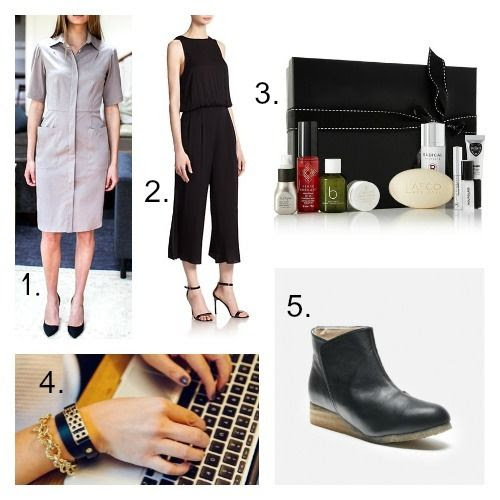 Emerson Fry Dress - Milly Jumpsuit - Net-a-Porter Beauty Kit - Bezels and Bytes FitBit Bracelet - Sydney Brown Boots