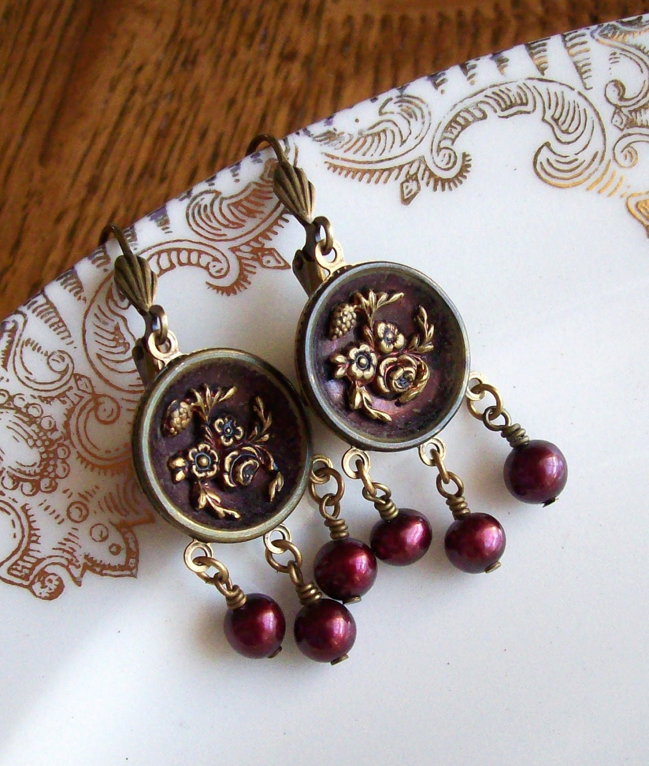 Antique Button Earrings with Freshwater Pearls- Crimson Bouquet