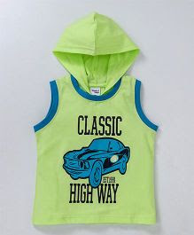 Taeko Sleeveless Hooded T-Shirt Classic High Way Print - Green