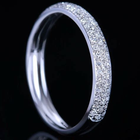 PAVE SOLID14K WHITE GOLD DIAMOND WEDDING HALF ETERNITY
