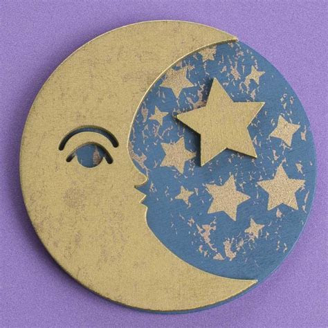 Finished Dimensional Moon and Star Wood Cutout   Wood