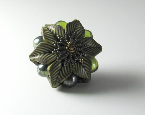 Mixed Media Bead, Polymer Clay, Glass, Metal