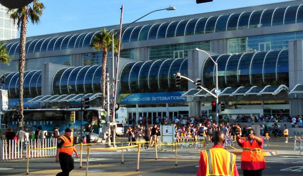 Walking past the San Diego Convention Center, home of Comic-Con International, on July 25, 2014.