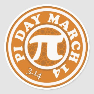 Happy Pi Day March 14 sticker