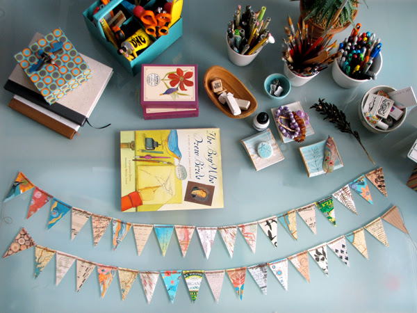 Recycled paper bunting
