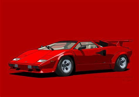 Lamborghini Countach 5000qv Rosso Siviglia Us Spec Digital Art by DigitalCarArt