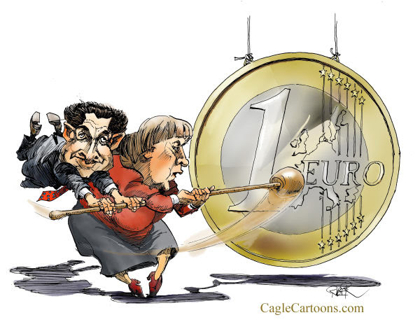 Riber Hansson - Sweden - Merkel, Sarkozy hitting gong - English - Merkel, Sarkozy, Economy, Brussels meeting, Euro, debt crisis, money