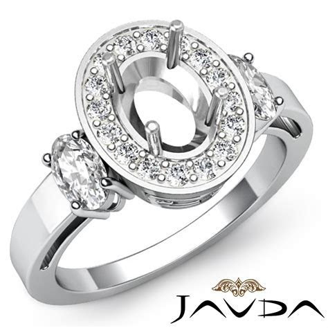 3 Stone Diamond Anniversary Round Oval Cut Setting Ring