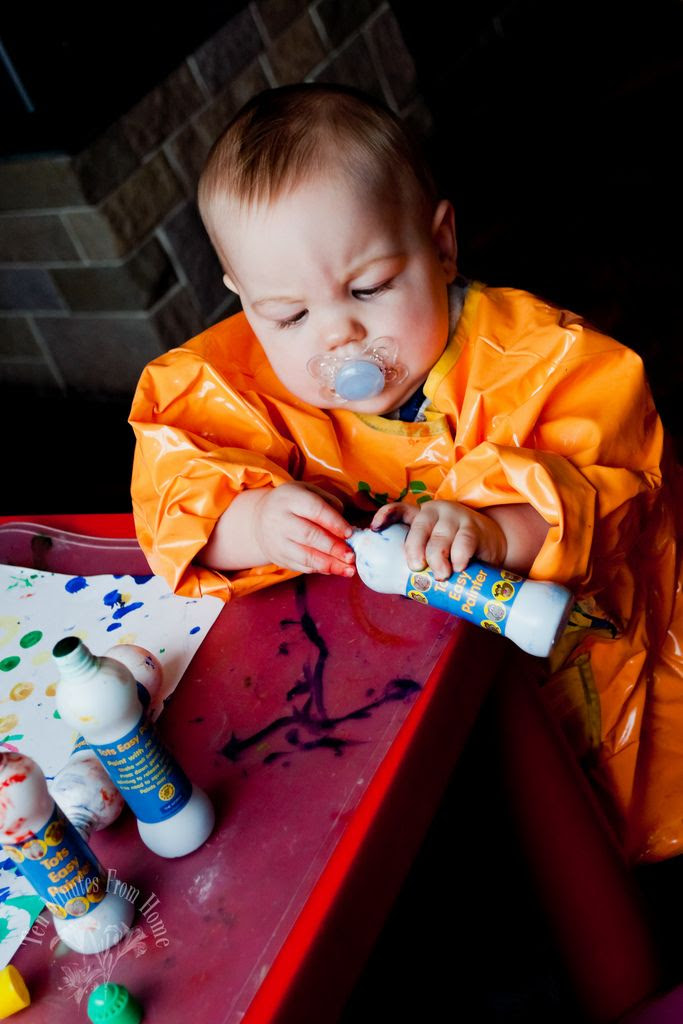 UNUSED ~ WED NOV 23RD, Baby had his first painting experience ~ the paints say 'no mess' but Baby certainly managed to make some!