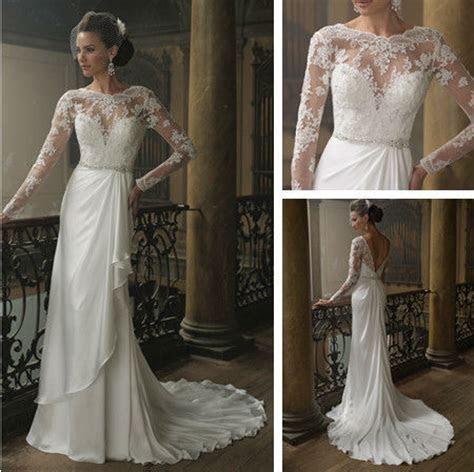 Long Sleeve Lace Wedding Dress Low Back V Shape with