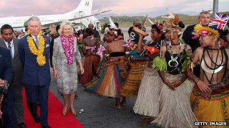 The Prince of Wales and the Duchess of Cornwall arrive into Jacksons International Airport in Port Moresby, Papua New Guinea