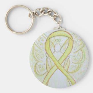Yellow Awareness Ribbon Angel Custom Art Keychain