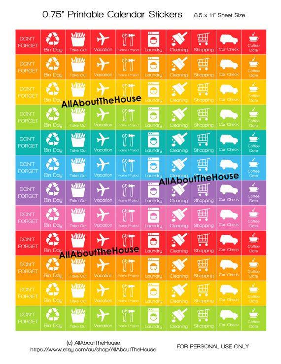Planner Stickers Printable Daily Planner Calendar Rainbow Add On ...