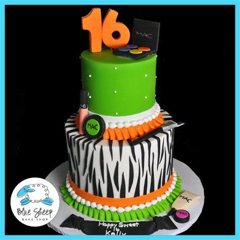 Sweet 16 Zebra & Makeup Birthday Cake   Blue Sheep Bake Shop