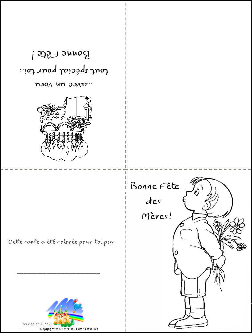 Coloriage Enfants Carte à Imprimer Et à Colorier Bonne Fête Des Mères