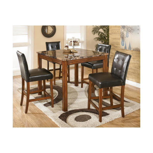 Signature Design By Ashley D158 233 Theo Counter Height Dining Room Table And Bar Stools Set Of 5