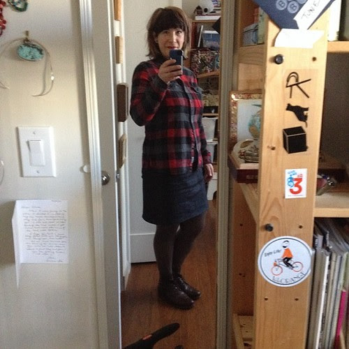 Flannel and waxed denim self drafted skirt selfie