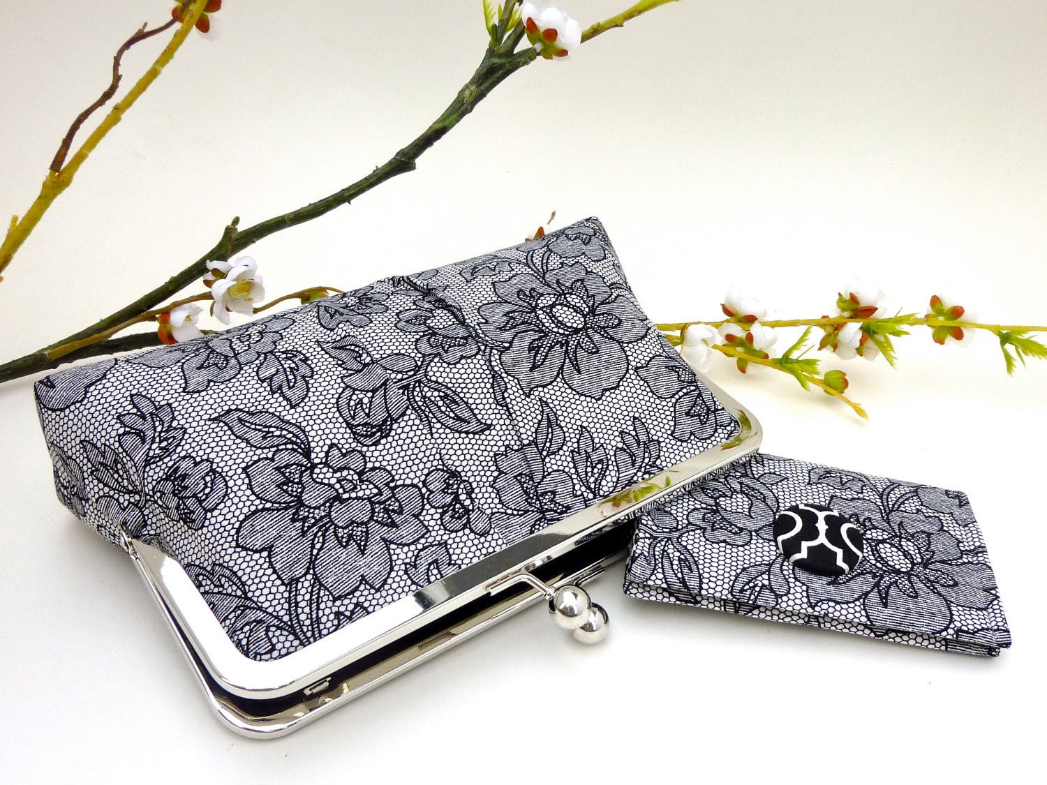NEW- Black Floral Lace Clutch/ Wallet Set