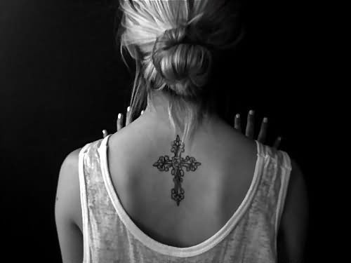 Simple Cross Tattoo Design For Women