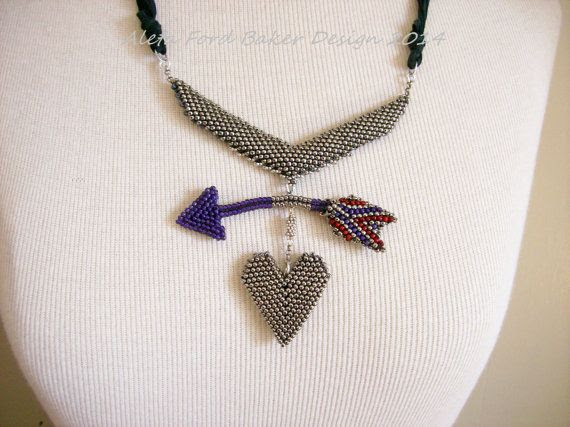 Heart & Arrow Kinetic Art Necklace by AletaFordBakerDesign on Etsy, $80.00