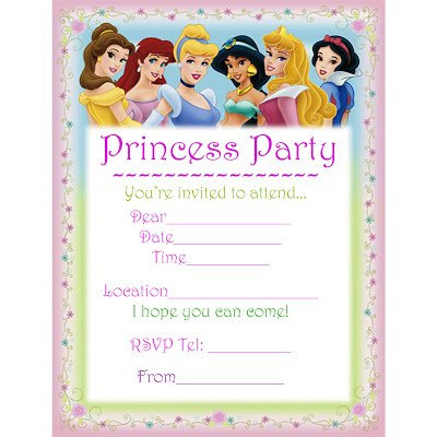 Template Disney Princess Birthday Invitations