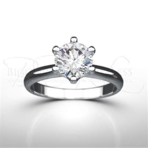 1ct G H/Si2 Tiffany Style Engagement Ring in White Gold